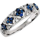 Genuine Blue Sapphire & Diamond Ring