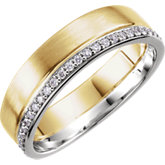 6mm Two-Tone Diamond Band or Mounting