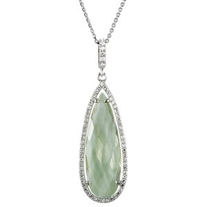Halo-Styled Pear-Shaped Pendant or Necklace