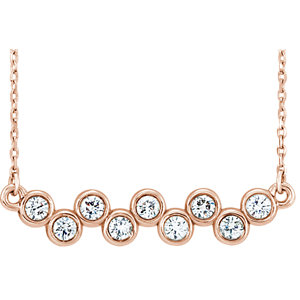 "14K Rose 1/2 CTW Diamond Bezel Set Bar 16-18"" Necklace"