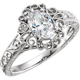 Oval Filigree Engagement Ring Mounting