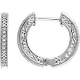 Diamond Milgrain Hoop Earrings