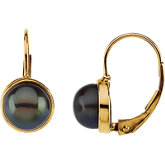 Black Freshwater Cultured Pearl Earrings