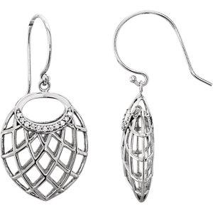 14K White .06 CTW Diamond Earrings