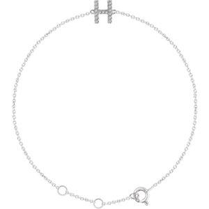 "14K White .06 CTW Diamond Initial ""H"" 6-7"" Bracelet"