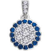Gemstone & Diamond Halo-Style Cluster Pendant