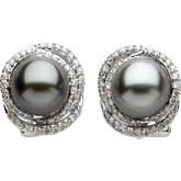 Tahitian Cultured Pearl & Diamond Earings