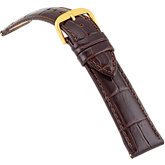 20mm Ladies Long Alligator Grain Padded Brown Watch Strap