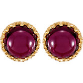 Crown Design Cabochon Button Earrings