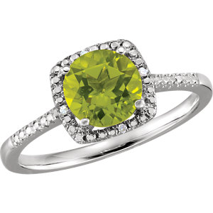 Sterling Silver Peridot &<br> . 1 ATW Diamond Ring