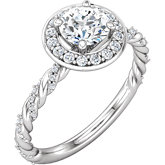 Diamond Semi-mount Halo-Style Twisted Rope Design Engagement Ring or Mounting