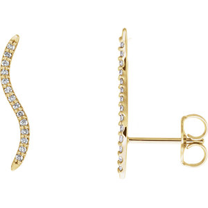 14kt Yellow 1/6 ATW Diamond Ear Alimbers with Backs