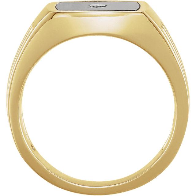 14K Yellow Men-s Onyx & .005 CTW Diamond Ring