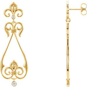 Fleur-De-Lis Design Scroll Earrings