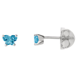 Sterling Silver December Bfly® AZ Birthstone Youth Earrings with Safety Backs & Box