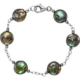 Freshwater Cultured Coin Pearl Bracelet or Necklace