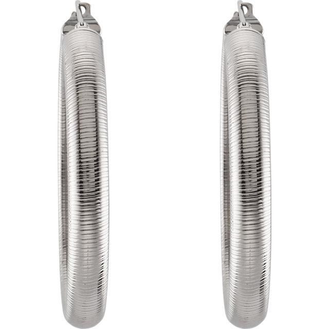 Amalfi® Stainless Steel Half Round Textured Hoop Earrings