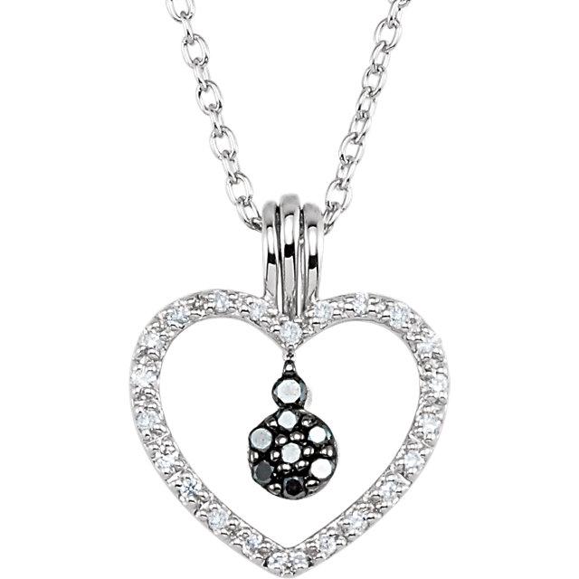 Sterling Silver 1/6 CTW Black & White Diamond Heart 18