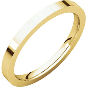 14kt Yellow 2mm Flat Comfort Fit Band