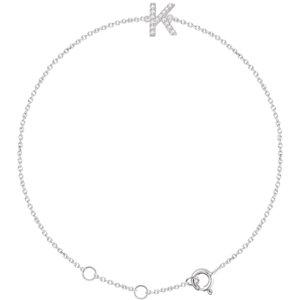 "14K White .05 CTW Diamond Initial ""K"" 6-7"" Bracelet"