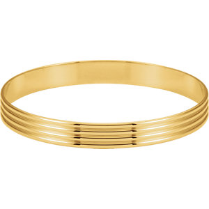 14kt Yellow  mm Grooved Bangle Bracelet