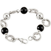 Stainless Steel Onyx & Circle Bracelet