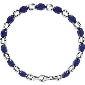 "14K White 7x5mm Oval Blue Sapphire 7"" Bracelet"