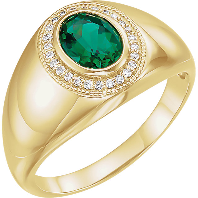 14kt Yellow Men's Chatham® Created Emerald & Diamond Accented Ring