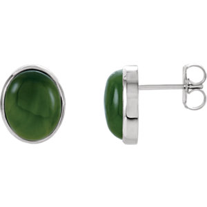 Nephrite Jade Cabochon Earrings