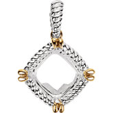 Rope Design Antique Square Pendant