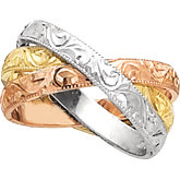 3mm Tri-Color Hand Engraved 3-Band Rolling Ring