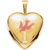 Color Dove with Cross Heart Locket