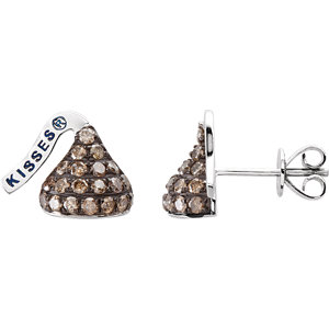 14kt White HERSHEYS KISSES Flat Back A/4 ATW Brown Diamond Stud Earrings