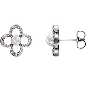 14K White Freshwater Cultured Pearl & 1/4 CTW Diamond Earrings