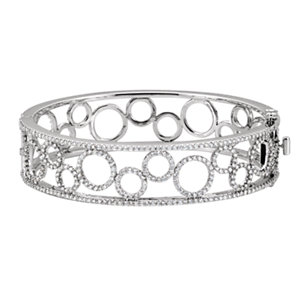 14K White 6 7/8 CTW Diamond Bangle Bracelet