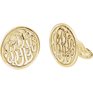 18mm 3 Letter Script Monogram Cuff Links Ref 651575