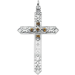 Imitation Birthstone Cross