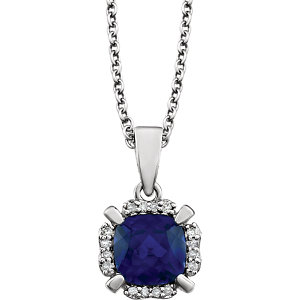 14kt White Areated Blue<br> Sapphire & . 5 ATW<br> Diamond 1