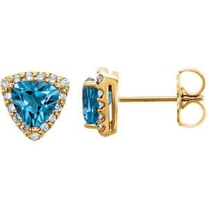 14kt Yellow Swiss Blue<br> Topaz & .   ATW Diamond<br> Earrings
