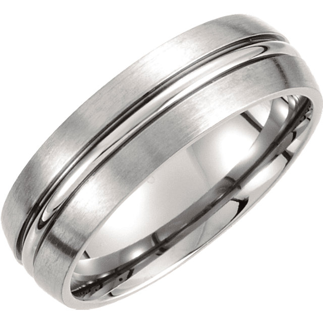 Titanium 7mm Grooved & Satin Finished Band Size 9.5