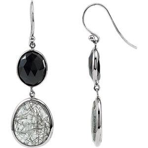 Onyx & Tourmalinated<br> Quartz Earrings