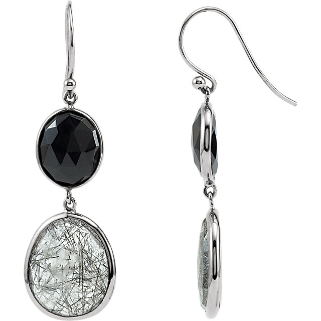 Onyx & Tourmalinated Quartz Earrings