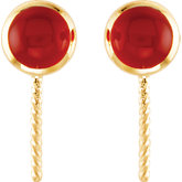 Genuine Carnelian Semi-mount Earrings