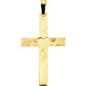 Cross Pendant with Heart Design