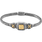Sterling Silver Fashion Bracelet with 18KY Accents