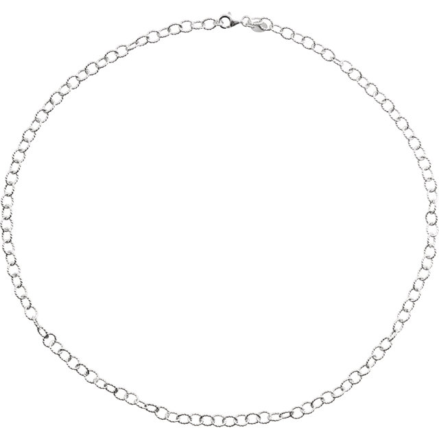 Sterling Silver Oval Cable Knurled Wire 7