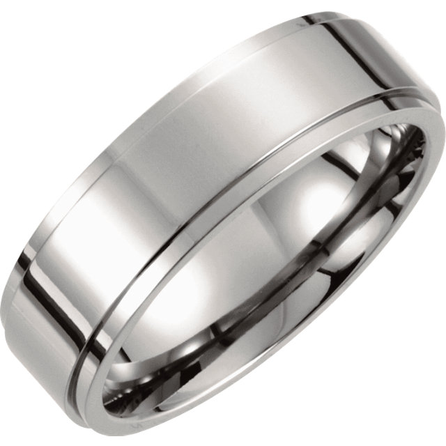 Titanium 7mm Ridged Band Size 8