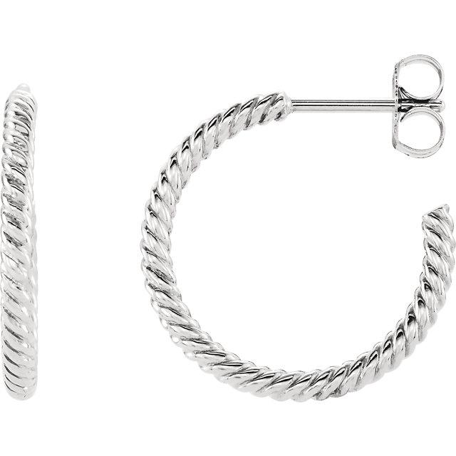 Continuum Sterling Silver 17mm Rope Design Hoop Earrings