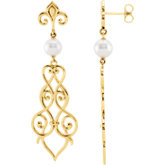 Fleur-De-Lis Design Scroll Pearl Earring