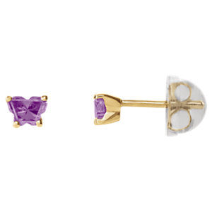 10K Yellow February Bfly® CZ Birthstone Youth Earrings with Safety Backs & Box